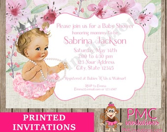 Custom Printed Floral, Shabby Chic, Antique, Vintage, Select hair/skin color, Pink Royal Princess Baby Shower Invitations