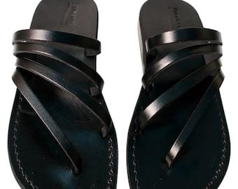 CLEARANCE SALE - Black Rainbow  Leather Sandals for Men & Women - EURO # 40 - Handmade Unisex Sandals, Genuine Leather Sandals, Sale