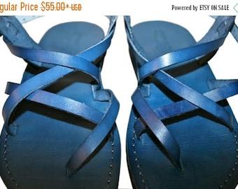 15% OFF Blue Triple Leather Sandals For Men & Women - Handmade Sandals, Leather Flip Flops, Jesus Sandals, Unisex Sandals, Blue Leather Sand