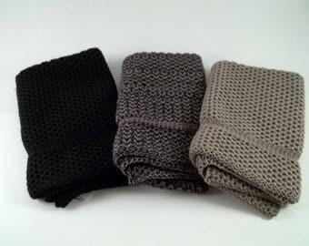 Dishcloths/washcloths Knit in Cotton in Black, Taupe and Black/Taupe, Knit Dishcloth, Knit Washcloth, Cotton Dishcloth.