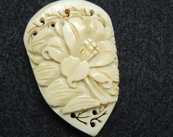 Carved Bone Dress Clip, Pierced, Carved Bone Clip