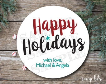Happy Holidays Labels, Holiday Stickers, Simple Christmas Tags, Happy Holidays Gift Tags