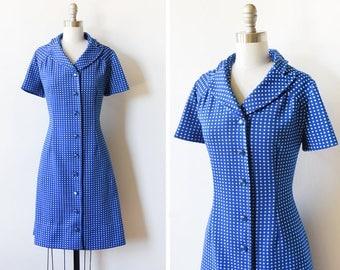 60s blue polka dot dress, vintage mod dress, vintage 70s mod scooter dress, medium large m/l