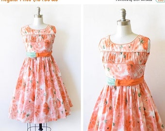 20% OFF SALE vintage 50s floral dress, 1950s orange pink and green dress, summer garden party dress, watercolor print extra small xs dress