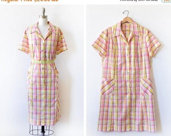 20% OFF SALE vintage 60s day dress, 1960s house dress, button up pink and yellow plaid day dress, 3x