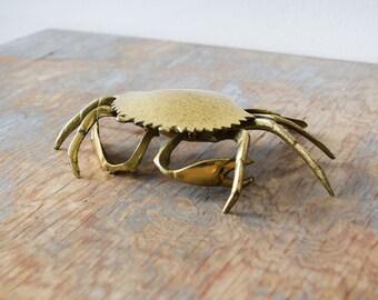 brass crab, vintage brass crab trinket box, crab ashtray, mid century ring dish, brass jewelry holder, nautical decor