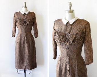 1940s silk dress, vintage 40s dress, brown + black wiggle dress with bow, late 40s early 50s Milton Lippman dress, medium m