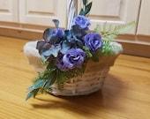 Custom Order Flower girl basket. White with burlap liner