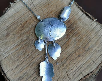 Sterling Silver Pearl Necklace, Oxidised, Sterling Silver Leaf Necklace, Freshwater Pearl Statement Necklace