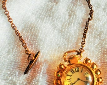 SALE Antique Copper Watch Fob Chain with fake watch, Big Ben Pin