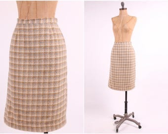 fitted plaid wool pencil skirt 1950s vintage tan + gray houndstooth check bombshell ladies small pinup