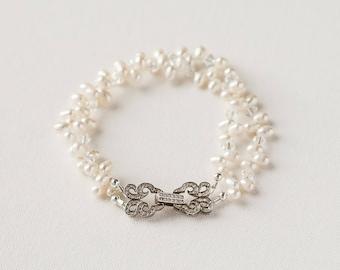 Bridal Bracelet, Wedding Bracelet, Bridal Jewelry, Pearl Bracelet, Crystal Bracelet