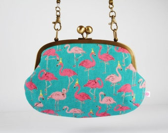 Metal frame purse with shoulder strap - Party flamingo in teal - Swing purse / Japanese fabric / Tropical birds / Pink neon yellow