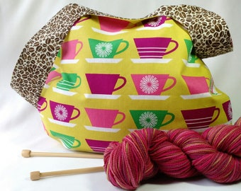 Coffee Lovers Knitting Project bag - medium size japanese knot bag - shawl sock crochet amigurumi - free stitchmarkers and knitting pattern