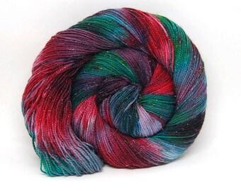 """Glam Rock Sparkle Sock Yarn - """"Night Before Christmas"""" -  Handpainted Superwash Merino - 438 Yards"""