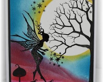 Magic in the moonlight - gorgeous Fairy handmade card