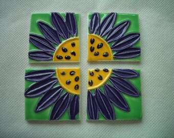 KL - STAMPED DAISIE Squares - Ceramic Mosaic Tiles