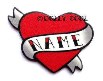 Heart Brooch Custom Personalized Name - Your choice of word - Hand Made by Dolly Cool Rockabilly 50s Pin Badge Tattoo