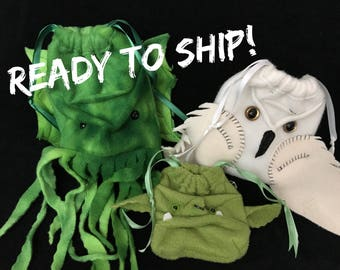 Dice Bag Monsters READY TO SHIP! orc owl cthulhu Wristlet purse, drawstring pouch, Dice bag Dungeons and Dragons pathfinder gamer gift