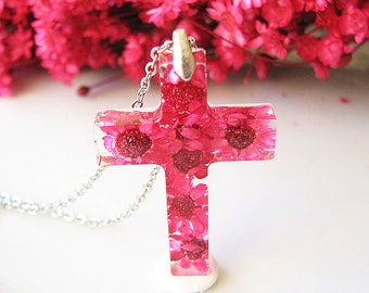 Resin Cross Necklace Resin Jewelry Real Flower Necklace Resin Jewelry Pink Cross Jewelry Christian Jewelry
