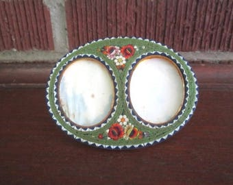 Vintage Beautiful Little Micro Mosaic Standing Double Oval Picture Frame