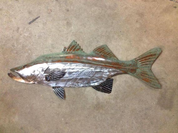 Snook Metal Fish Handmade Wall sculpture 30in Tropical Beach Coastal Art