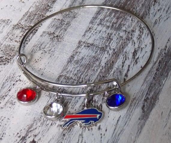 Buffalo Bills NFL Adjustable Bangle Charm Bracelet Red Blue Western New York Bills Mafia Team Logo Bracelet
