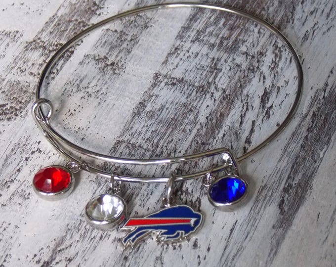 Buffalo Bills NFL Adjustable Bangle Charm Bracelet Red Blue Western New York Bills Mafia Team Logo Bracelet
