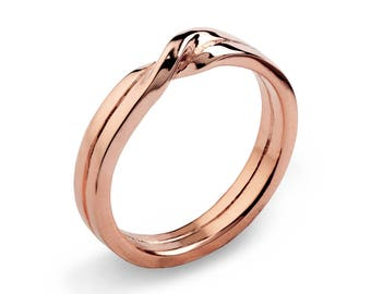 LOVE Knot 14k Rose Gold Wedding Band, Unique Mens Wedding Band Rose Gold, Womens Wedding Band, His and Hers Wedding Ring Gold