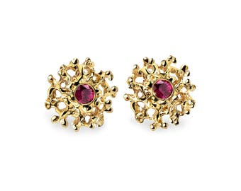 CORAL 14K Gold Earrings Posts Medium, Gold Posts, Gold Ruby Earrings,  Ruby Stud Earrings, Gold Stud Earrings