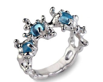 SALE 20% Off - BETWEEN The Seaweeds 14k White Gold Ring, Gold Blue Topaz Ring, Unique Gold Ring, Organic Gold Ring