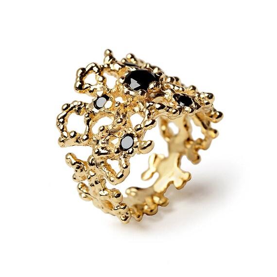 CORAL Black Diamond Ring 14k Yellow Gold Black Diamond Band