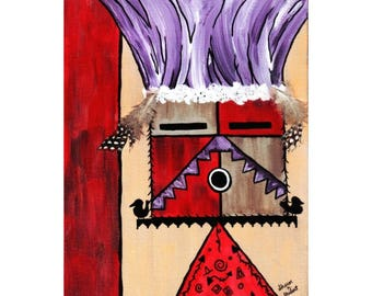 Southwestern Kachina Tribal Painting, Mixed Media, Native American Folk Art, Red Purple, Home Decor, Wall Hanging, Giclee Print 8 x 10