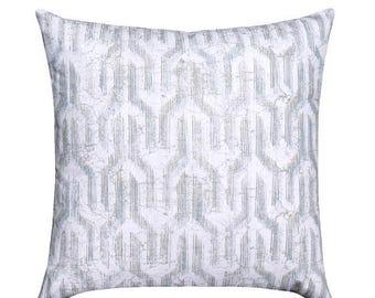 Grey Geometric STUFFED Pillow, Valdo Regal Blue Throw Pillow, Modern Ikat Throw Pillow, Blue Grey White Throw Pillow - Free Ship