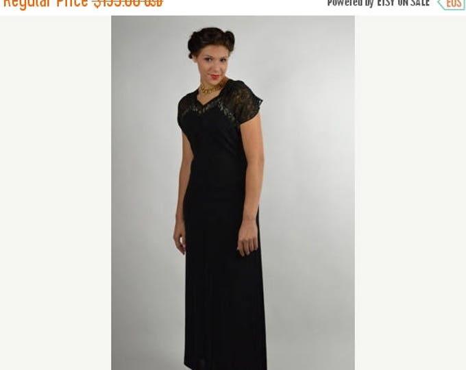 sale Vintage Dress, 30's Dress, Black Dress, Long Dress, 1930's Dress, Black Lace Dress, Formal Dress, Cocktail Dress, Historical Dress