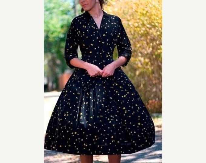 sale Womens Vintage Dress, 50s Dress,Swing Dress, 2 Piece Set, Circle Skirt, Black Yellow Suit, Party Dress, Cotton Dress, 1950s Dress, Size
