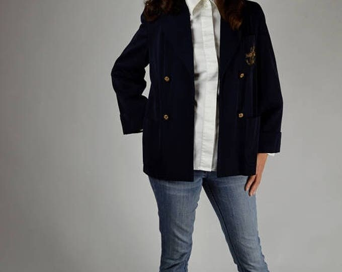 sale Vintage Jacket, 40s Jacket, Nautical Blazer, Swing Jacket, Navy Blue Jacket, Preppy Jacket, 1940s Jacket, Office Jacket,