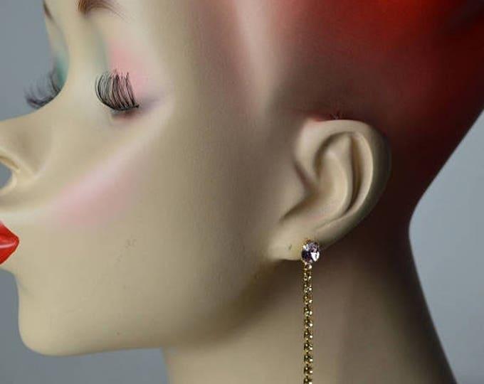 sale Pink Earrings, Rhinestone Earrings, Vintage Earrings, Drop Earrings, Dangle Earrings, Gold Earrings, 90s Earrings, Pierced Earrings,