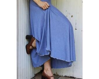 Hemp & Organic Cotton Maxi Wrap Skirt - Organic Full Length Wrap Skirt - Hemp Lightweight Jersey - Made to Order - Choose Your Color - Eco