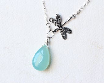 """Aqua Chalcedony Necklace, Dragonfly Necklace on Sterling Silver - """"Sea Dragon"""" by CircesHouse on Etsy"""