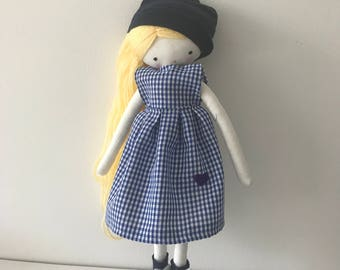 Made to order rag doll , Pipi- ooak cloth art rag doll vichy dress, hat and sockstoys for girls