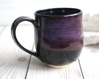 Handmade 15 oz. Stoneware Pottery Mug in Deep Purple and Black Glazes Artful Coffee Cup Ready to Ship Made in USA