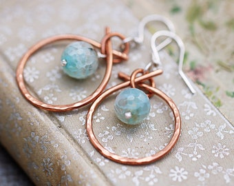 Hand Forged Copper Earrings | Wife Gift Idea | Light Blue Agate Earrings | Mixed Metal Copper Hoops | Polished Finish | Sterling Silver