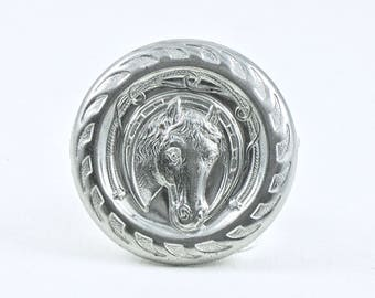 2 Large silver horse CONCHO prong stud nailhead for leather crafts. Over 1 inch wide. Raw steel piece. (ST400)