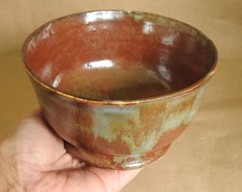 Soup Bowl, Dessert Bowl, Breakfast Bowl, Oatmeal Bowl, Ceramic Bowl, Pottery Handmade Bowl, Rustic Copper Red & Olive Green Bowl