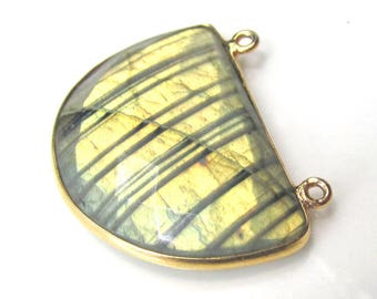 Faceted LABRADORITE Pendant - Natural Striped Labradorite Bead with Gold Plated Metal