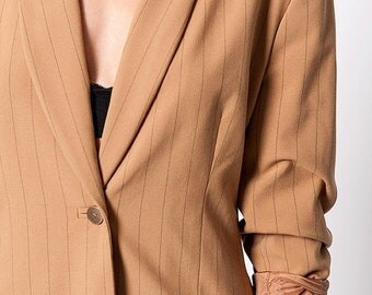 40% OFF The Vintage Striped Blazer Jacket Skirt Suit Set