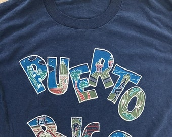 40% OFF The Vintage Navy Blue Puerto Rico 50/50 Tee Tshirt