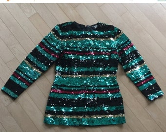 40% OFF The Vintage Lux Sequin Multicolored Striped Cocktail Tunic Shirt Dress