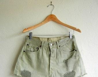 40% OFF Pastel Pistachio Distressed Levi's Denim Shorts